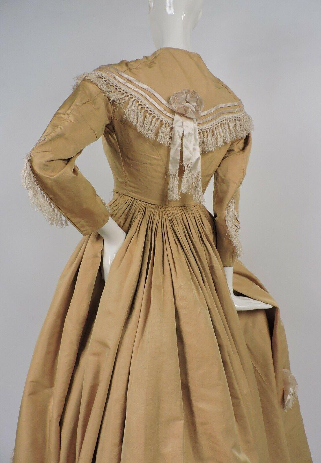 Civil War Era Golden Silk Dress W Silk Piping Rosettes And Fringe Ebay Vintage Dresses 1800 Vintage Dresses Casual Vintage Dresses [ 1599 x 1109 Pixel ]
