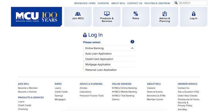 Mcu Login Nymcu Org Municipal Credit Union Online Banking