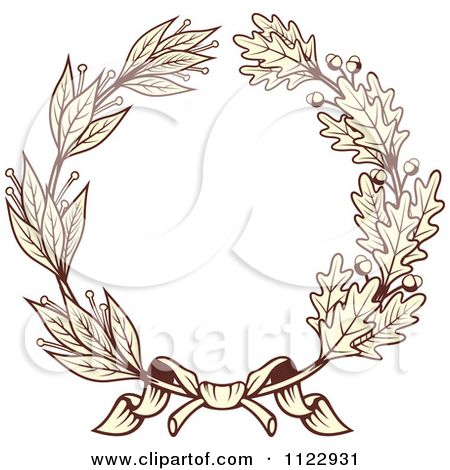 Clipart Of A Vintage Sepia Oak And Laurel Wreath 1 - Royalty Free Vector Illustration by Seamartini Graphics #1122931