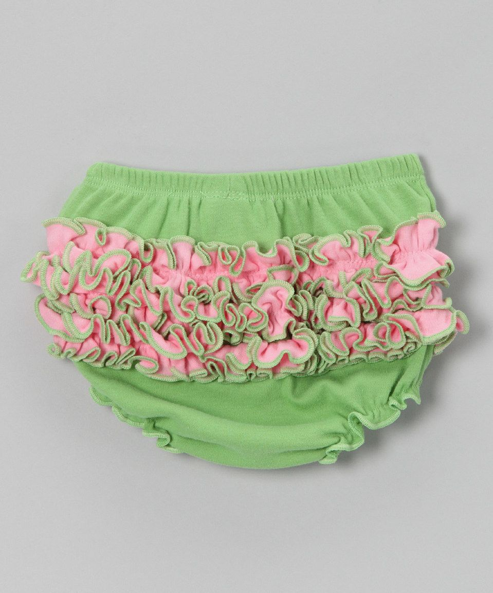 Another great find on #zulily! Zootie B. Little Green & Light Pink Ruffle Diaper Cover by Zootie B. Little #zulilyfinds