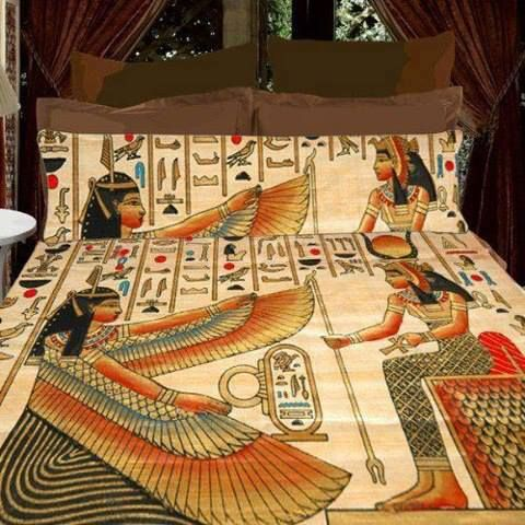 Kemetic linen ancient egyptian bedding pinterest for Egyptian bedroom designs