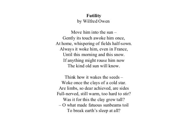 Wilfred Owen Futility Poems And Poetry Wilfred Owen