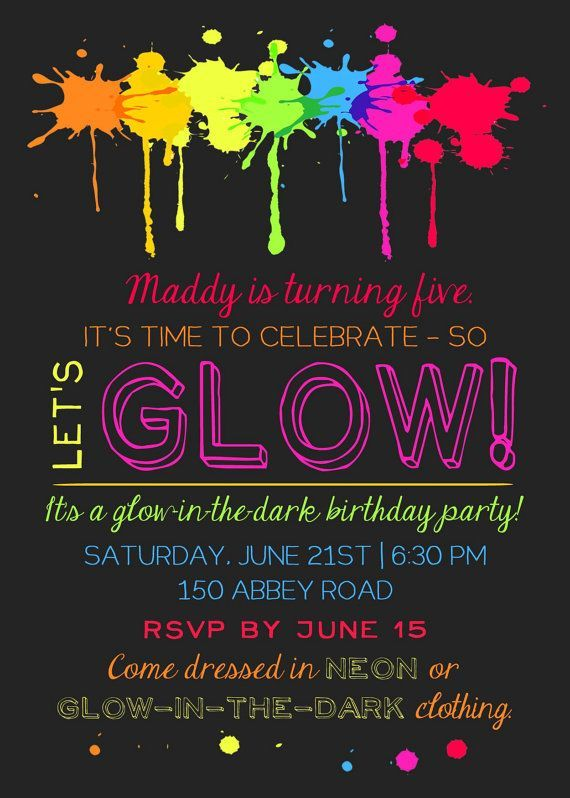 Printable Glow In The Dark Theme Party Invitation By KickAssCraftsShop On Etsy