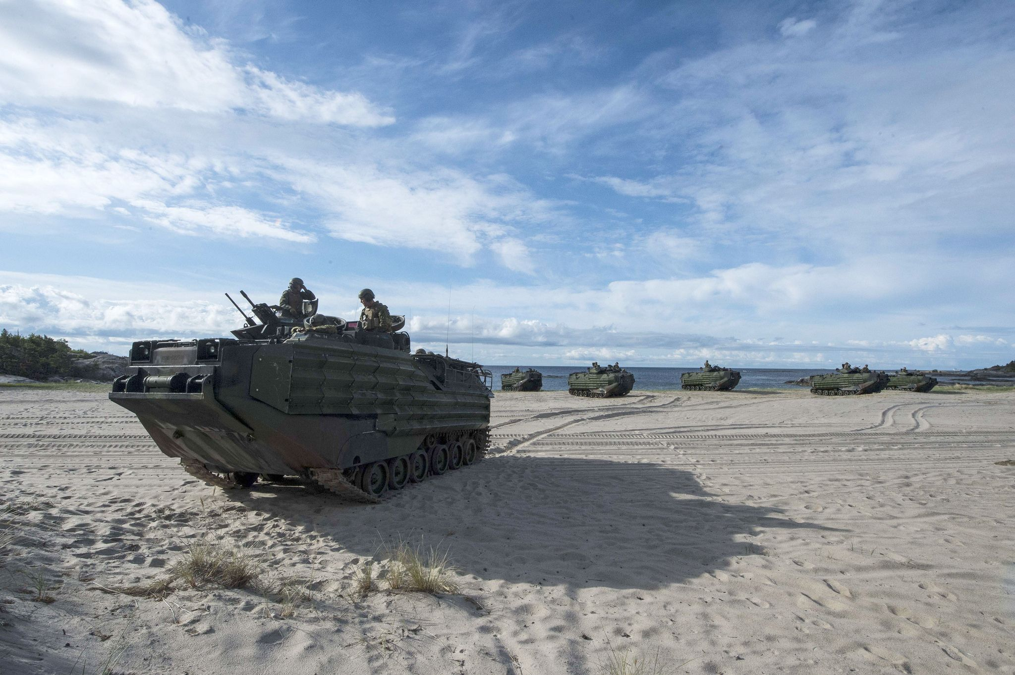 UTO, Sweden (June 10, 2016) Marines with the 3rd Battalion, 8th Marines deployed from Camp Lejune, North Carolina, come ashore during an amphibious assault landing exercise on the island of Uto in of support BALTOPS 2016, June 10. BALTOPS is an annual recurring multinational exercise designed to improve interoperability, enhance flexibility, and demonstrate the resolve of allied and partner nations to defend the Baltic region. (U.S. Navy Mass Comm Spec  2nd Class Brittney Cannady)