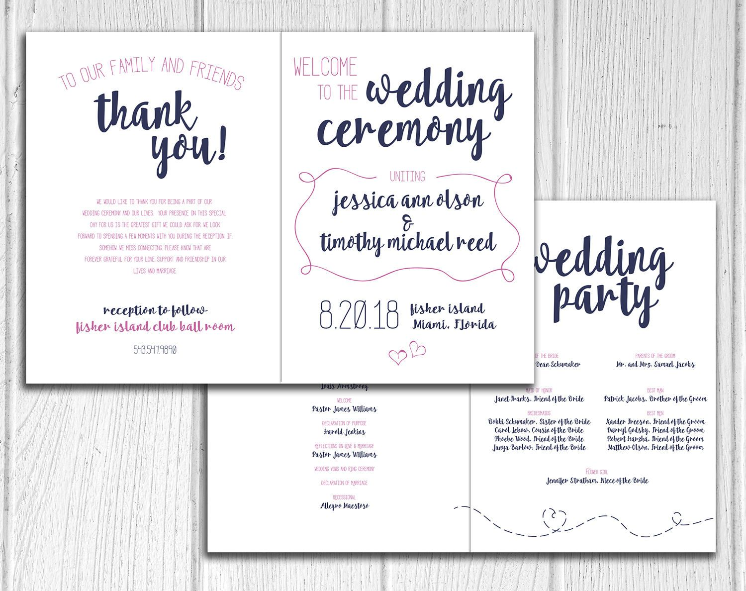 Paper Airplane Design Bifold Wedding Program Marriage Ceremony Programs Modern Navy And Fuchsia Hand Drawn By Ivoryisledesigns On Etsy
