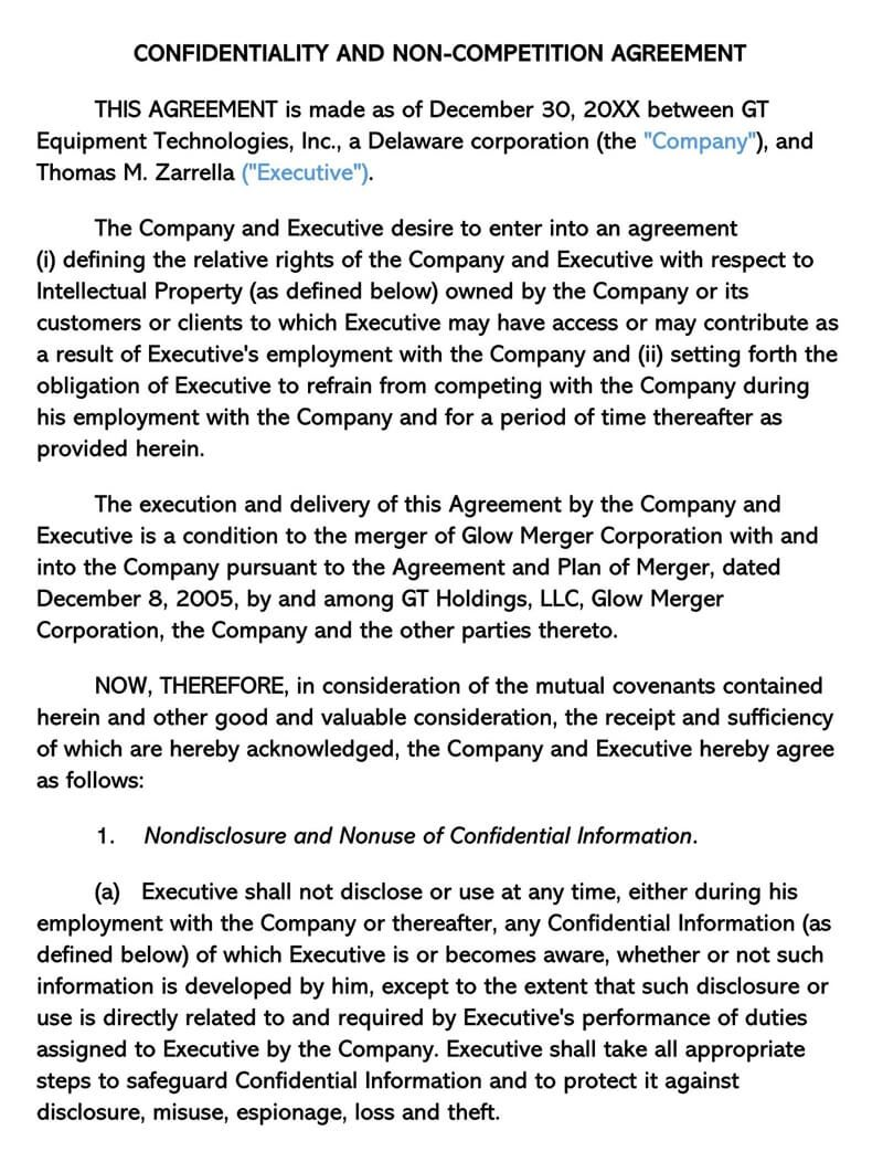 Non Compete Agreement Florida Template Ready To Print Professional Templates Rental Agreement Templates Business Template