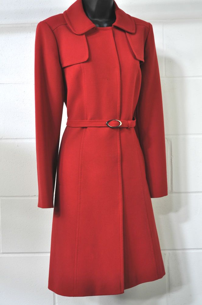 Ladies Red Long Length Trench Coat, Mac UK Size 10 from M&S ...