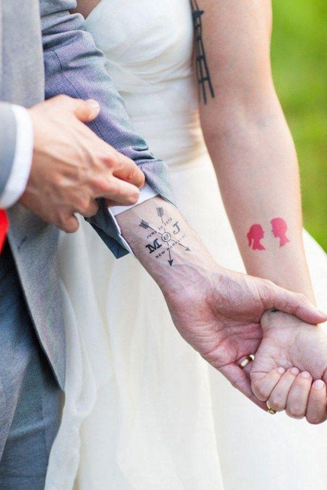 Tattoo Ideen für Pärchentattoos-Liebespfeile Silhouetten
