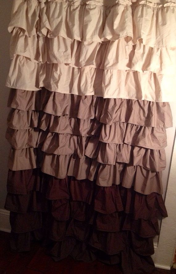 Beige To Brown Ombre Ruffle Shower Curtain By Juliaann87 On Etsy Ruffle Shower Curtains Curtains Bathroom Shower