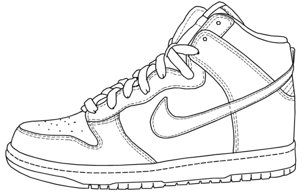 Basketball Coloring Pages Interesting Nike Shoes Coloring Pages Basketball Drawing At Albanysinsanity Com Sneakers Drawing Shoes Drawing Sneakers Sketch