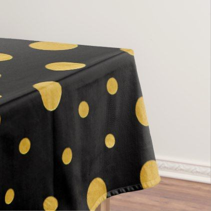 Elegant Polka Dots   Black Gold Tablecloth