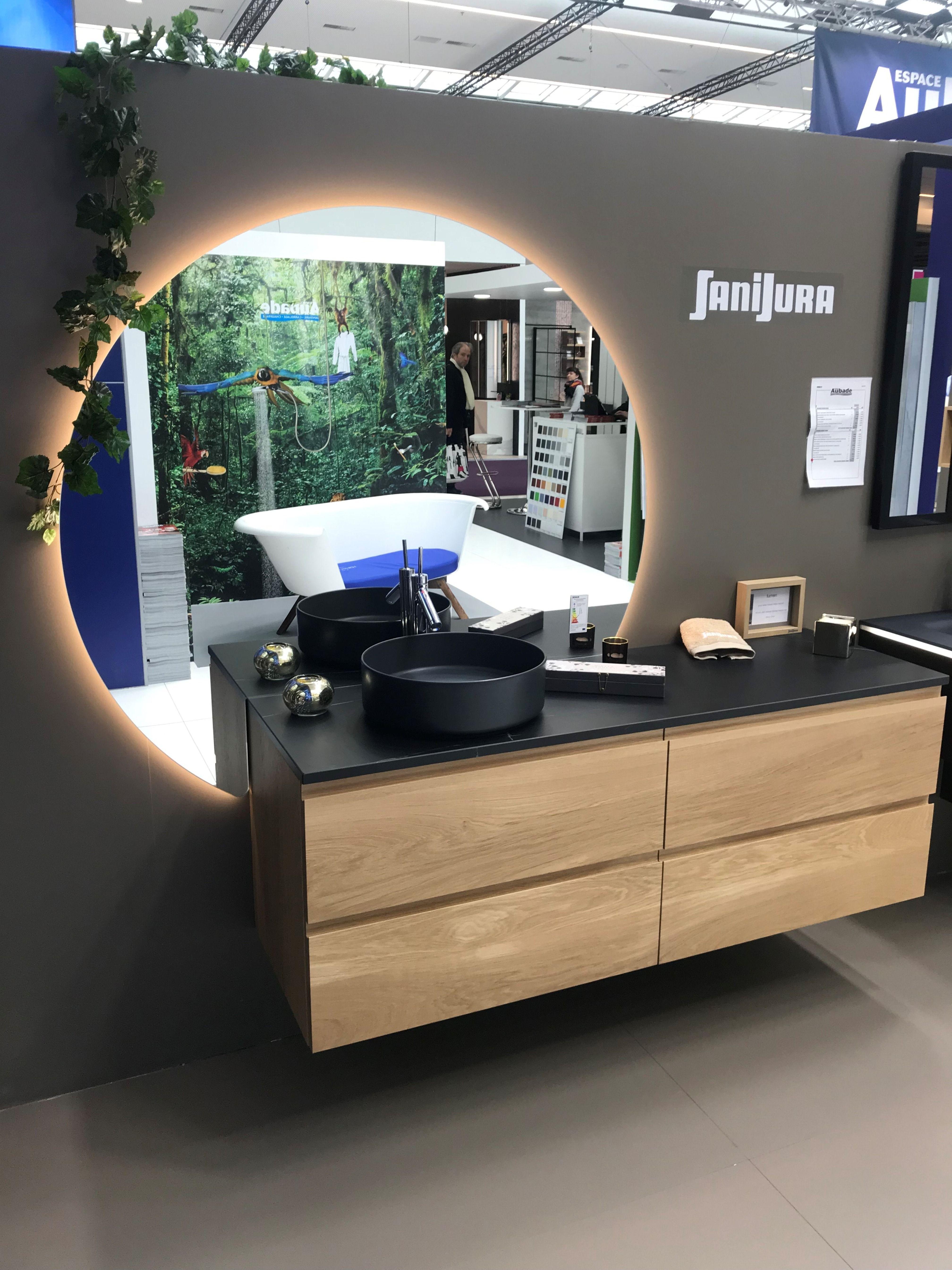 Miroir Orbe Et Meuble Vasque En Bois Meuble Salle De Bain Idee Salle De Bain Meuble Salle De Bain Ikea