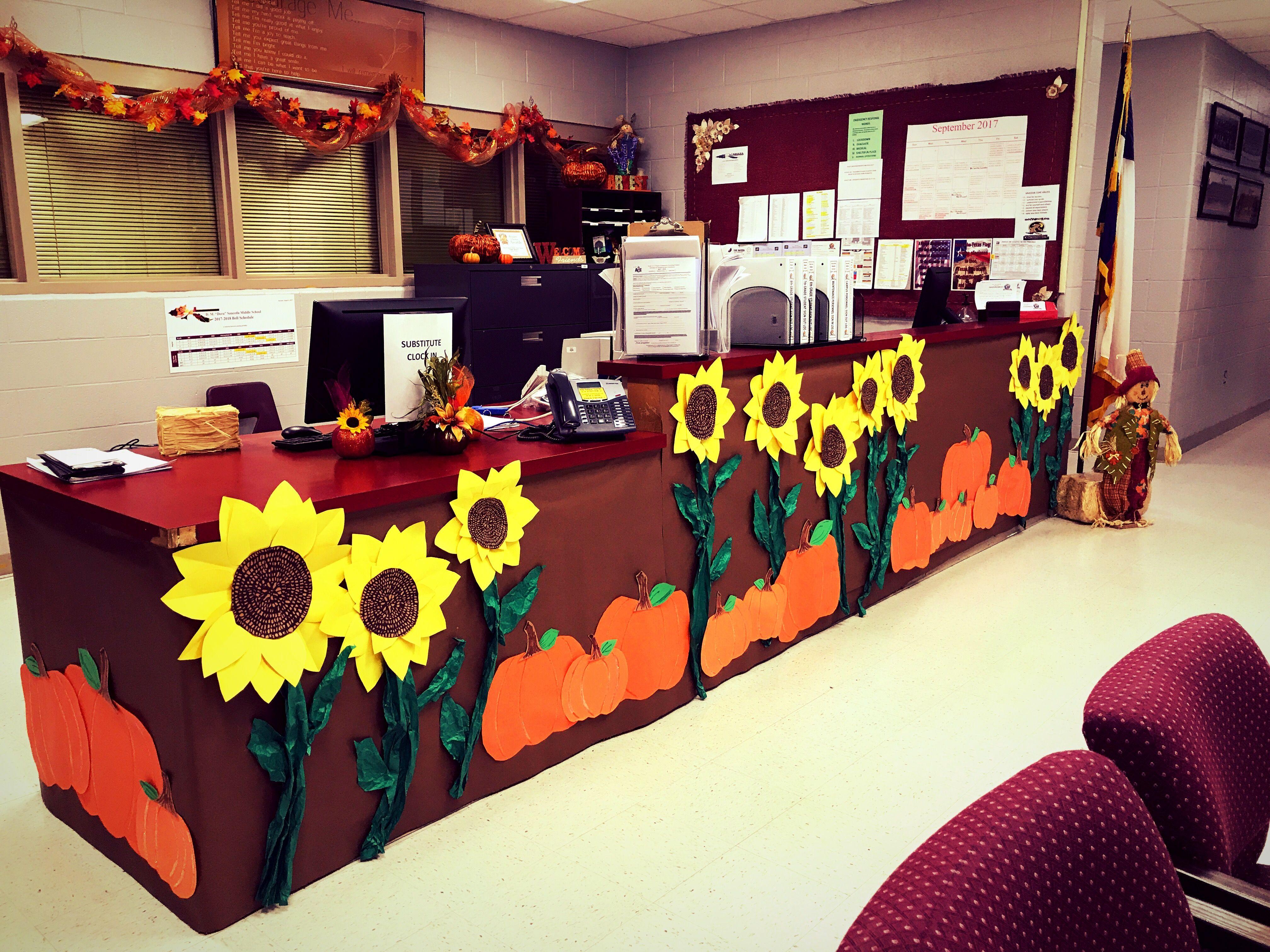 Office Decor Sunflowers And Pumpkins