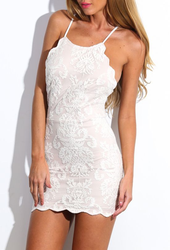 White Spaghetti Strap Backless Lace Embroidered Bodycon Dress 27 00