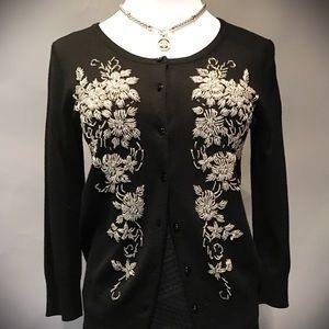 I just added this to my closet on Poshmark: Beautiful Bead Embroidered Black Cardigan. Price: $18 Size: S