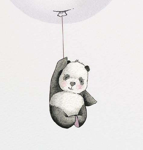 Balloon Picture, UNFRAMED Kids Wall Art, Grey, Panda, Minimal, Modern, Unisex, Nursery Art, Painting, Watercolour Print, New Baby Gift