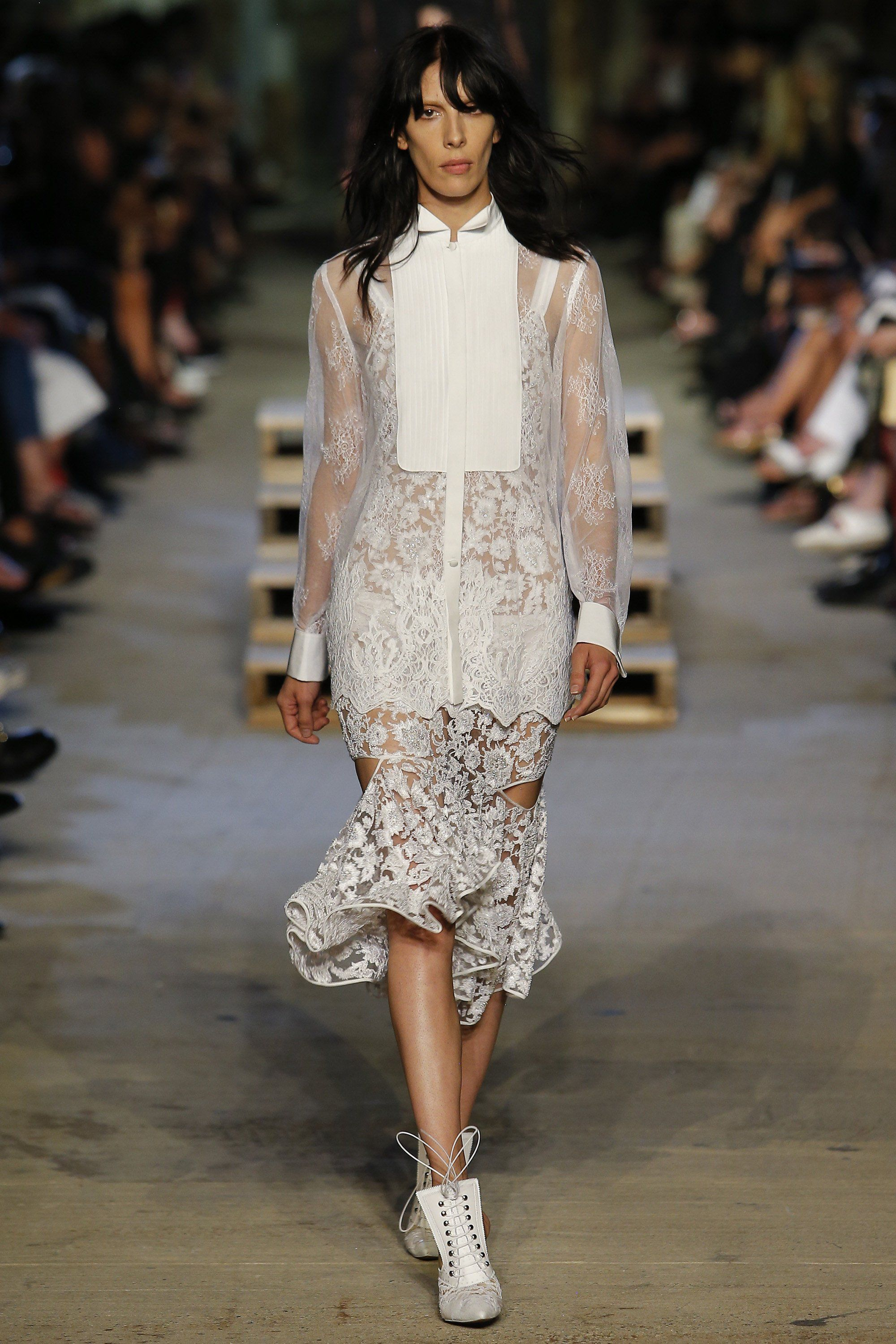 Bridal Looks From the Spring 2016 Runways Givenchy - Riccardo Tisci brings his deft touch to this lace stunner with a bib front for a black-tie vibe.