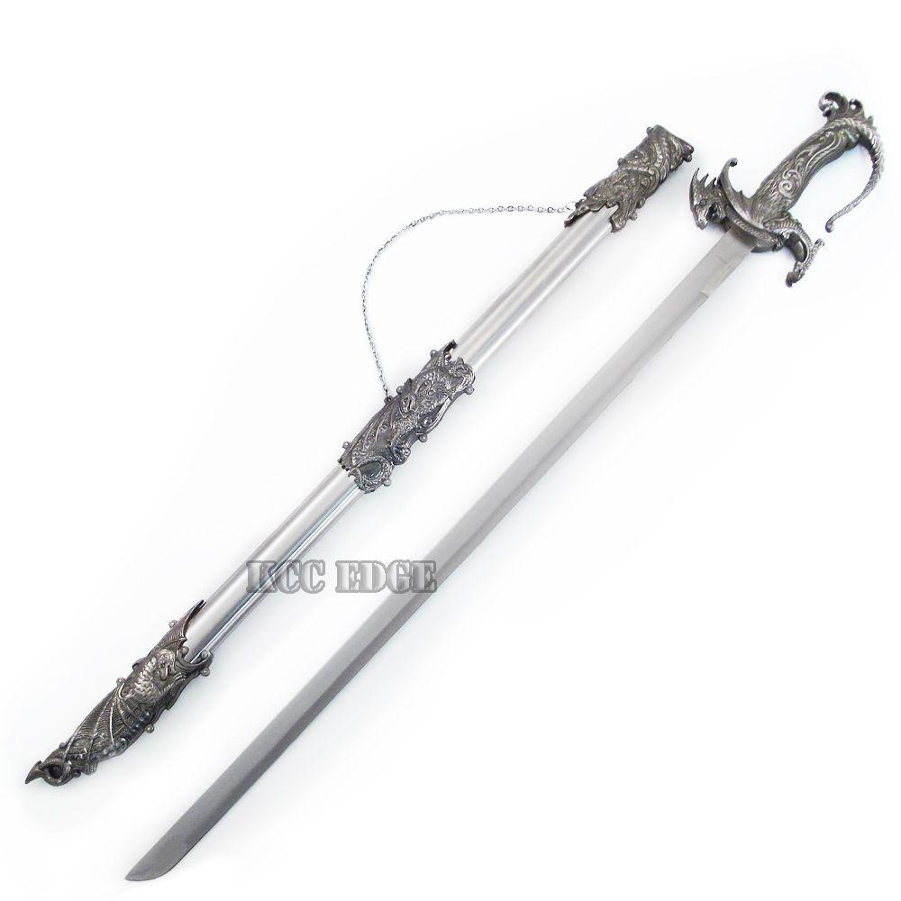 Saint George Dragon Saber Fantasy Medieval Knight Sword Black