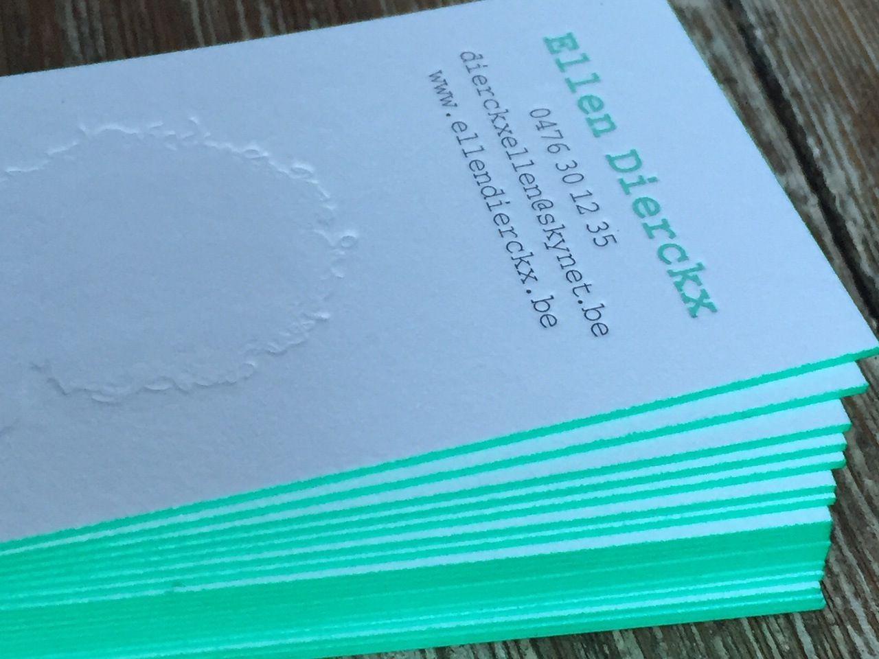 Business card ellen dierckx letterpress printing and edge coloring business card ellen dierckx letterpress printing and edge coloring mint green by letterpressgust reheart Image collections