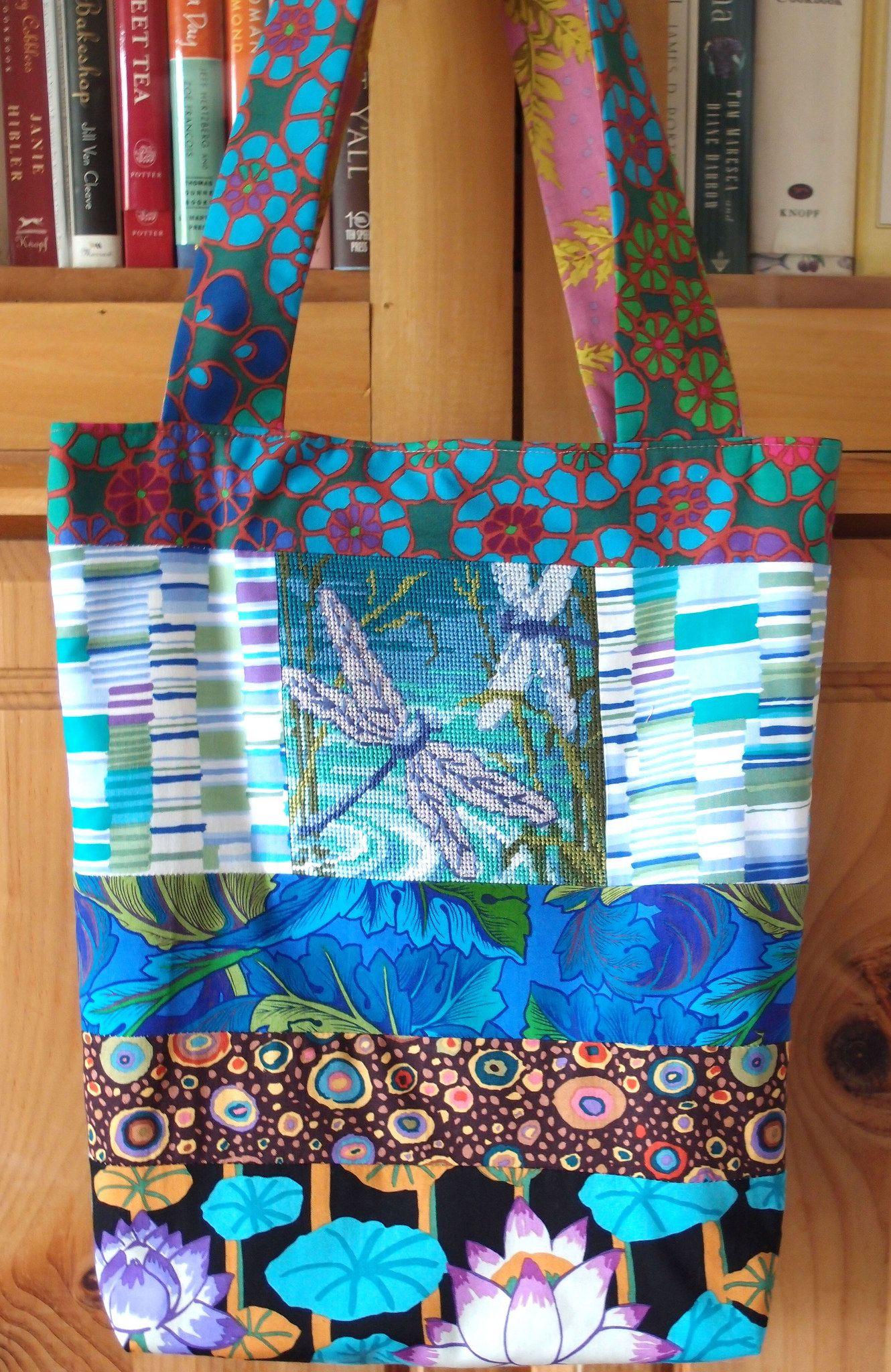 "https://flic.kr/p/nFWRMJ | 765P6138679 | Anna's Knitting Bag No. 766 Customer's Needlepoint Kaffe Fassett ""Tile Flowers"" Kaffe Fassett ""Shirt Stripes"" Kaffe Fassett ""Dancing Leaves"" Kaffe Fassett ""Roman Glass"" Kaffe Fassett ""Lotus Stripe"" Martha Negley ""Fern"""