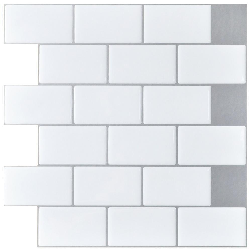 - Art3d 12 In. X 12 In. Peel And Stick Vinyl Subway Backsplash Tile In White  (10-Pack)-A17049B10 Peel, Stick Tile, Subway Backsplash, Stick On Tiles