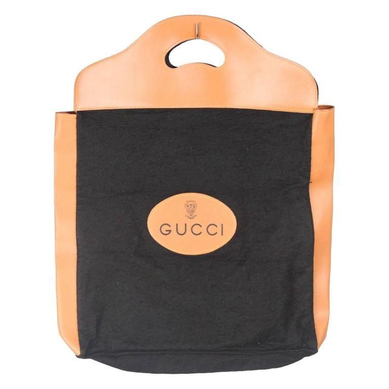 683e12795aab GUCCI VINTAGE Black Felt TOTE Handbag SHOPPING BAG Purse RARE ...