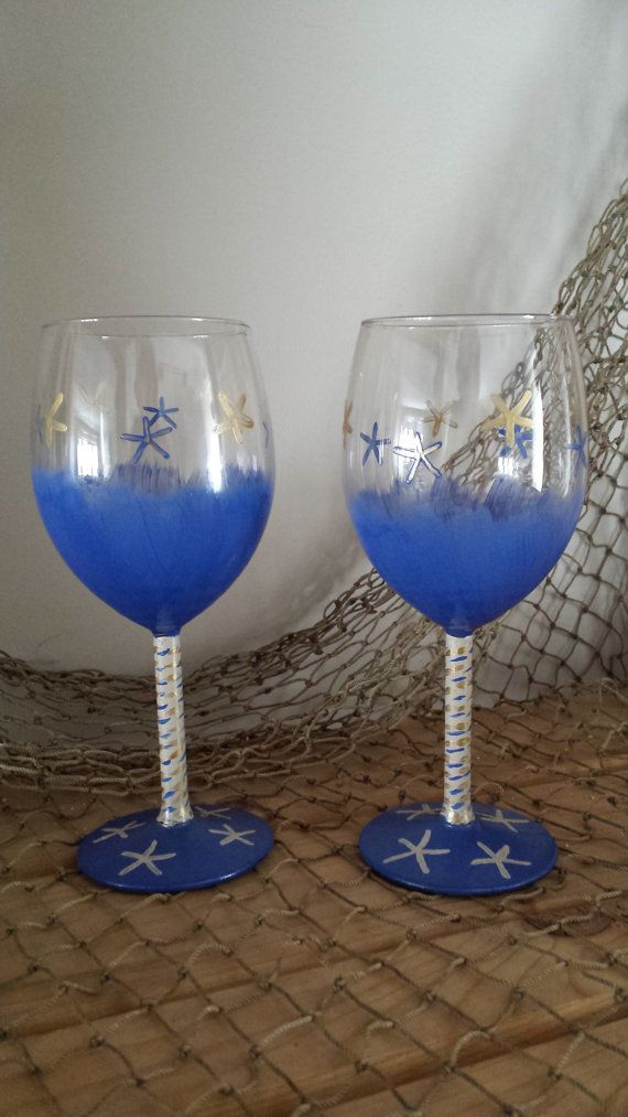 Cobalt Blue Hand Painted Wine Gles With And Gold Starfish Accents Find These