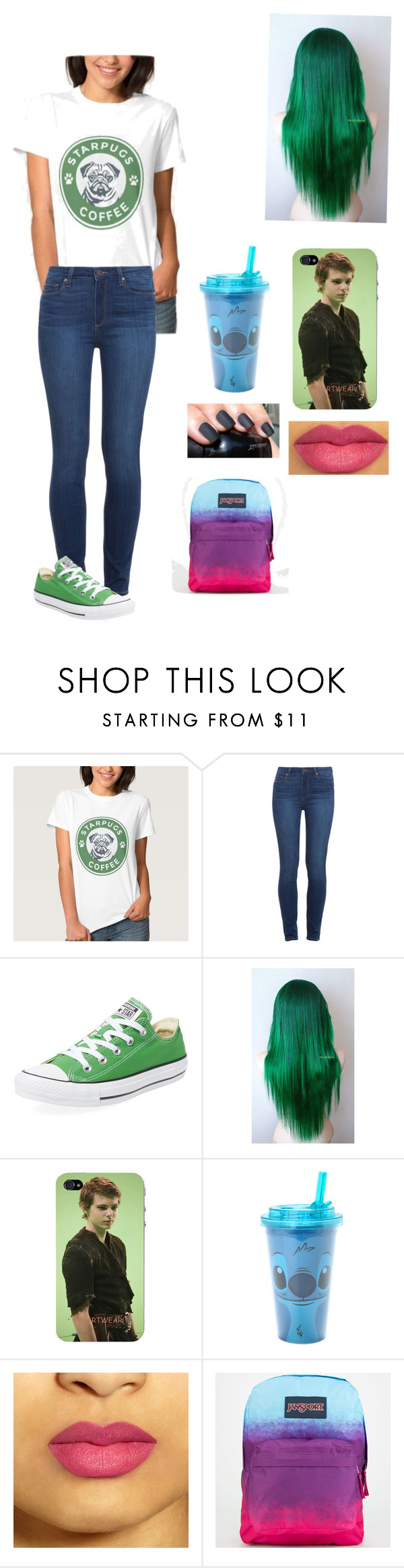"""Me"" by kjp456 ❤ liked on Polyvore featuring Paige Denim, Converse, Once Upon a Time, Disney and JanSport"