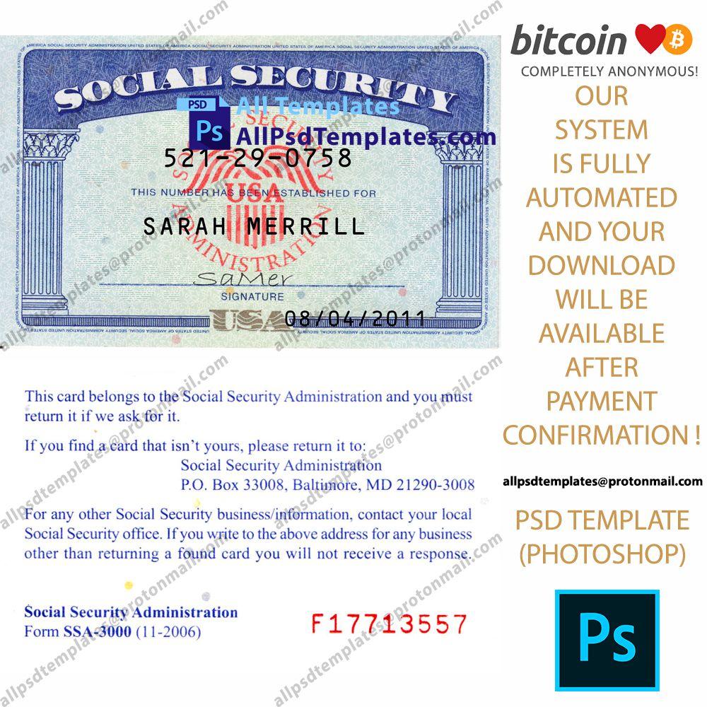 Usa Ssn Social Security Number Template Psd Templates Templates Number Templates