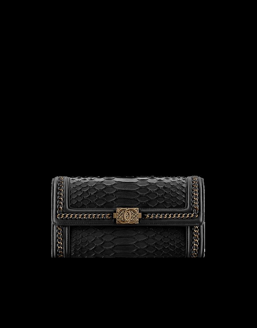 f3aa2d92fc2d Boy CHANEL flap wallet, python, lambskin & bronze metal-black - CHANEL