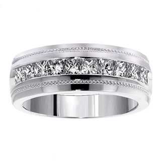Mens 14k White Gold 1ct TDW Channel Diamond Wedding Ring
