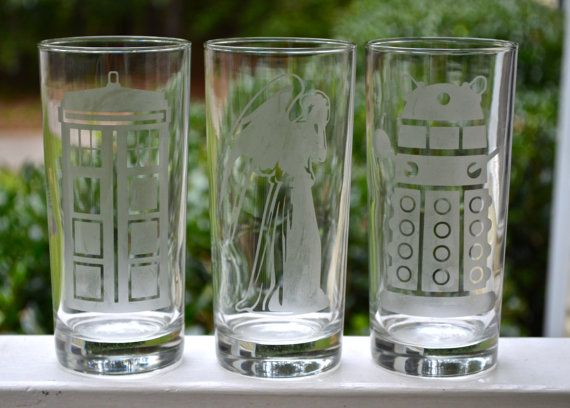 Doctor Who Etched Drinking Glasses Tardis Etched Glass Dalek Etched Glass Weeping Angel Etched Glass Drinking Glasses Doctor Who Drinking