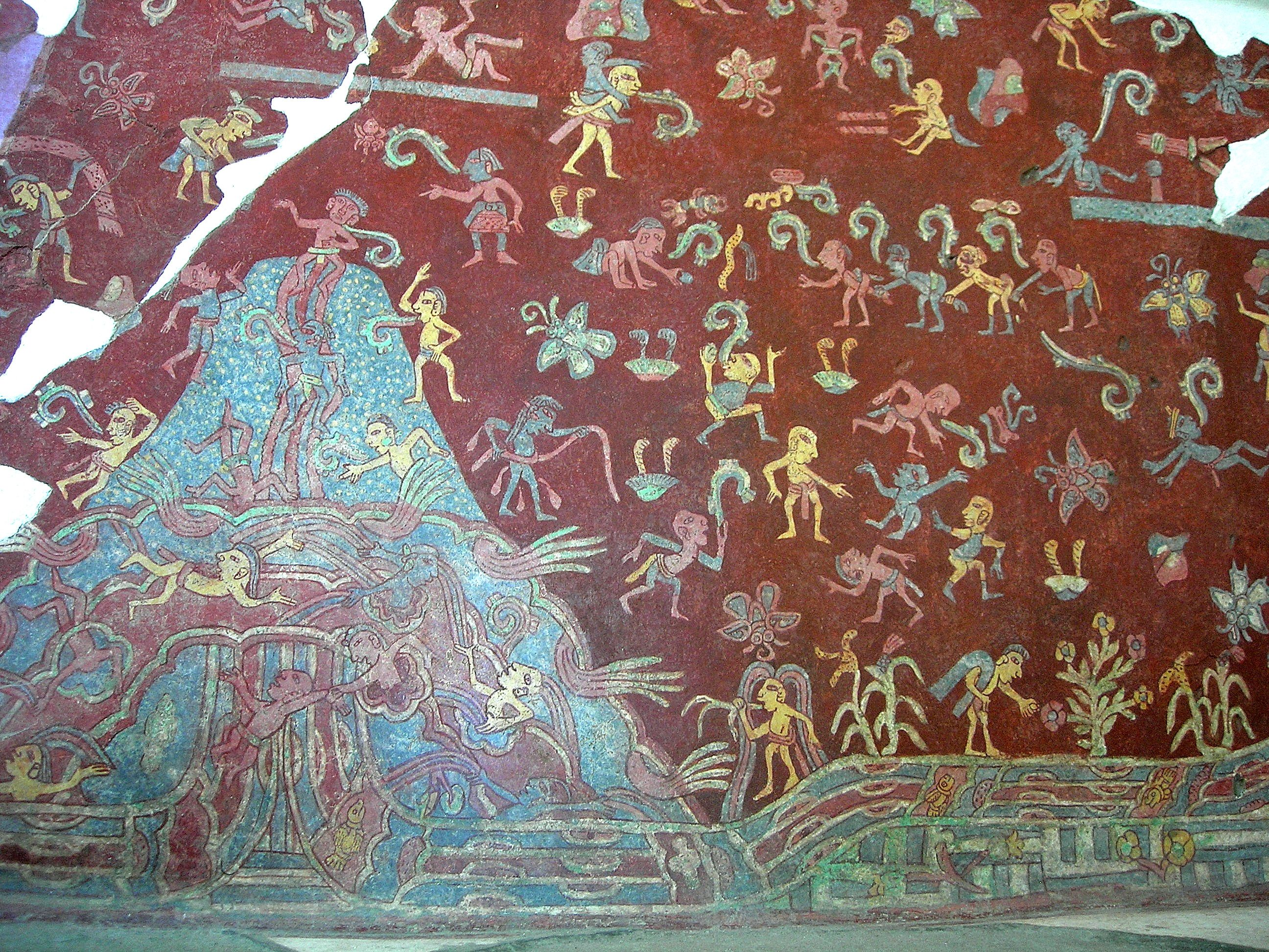 Tepantitlamountainstreammuralteotihuacanluistello mexico a portion of the actual mural from the tepantitla compound which appears under the great goddess portrait amipublicfo Choice Image
