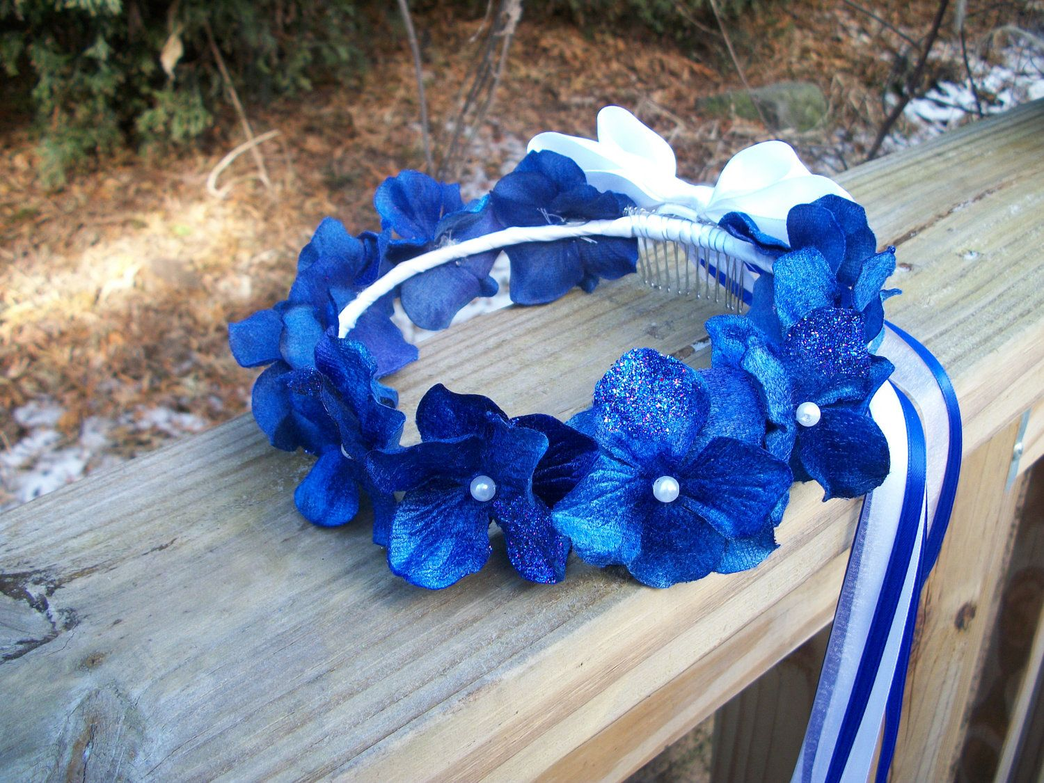 Crown with flowers and ribbon flower girl crown royal blue flower crown with flowers and ribbon flower girl crown royal blue flower girl hair wreath izmirmasajfo Image collections