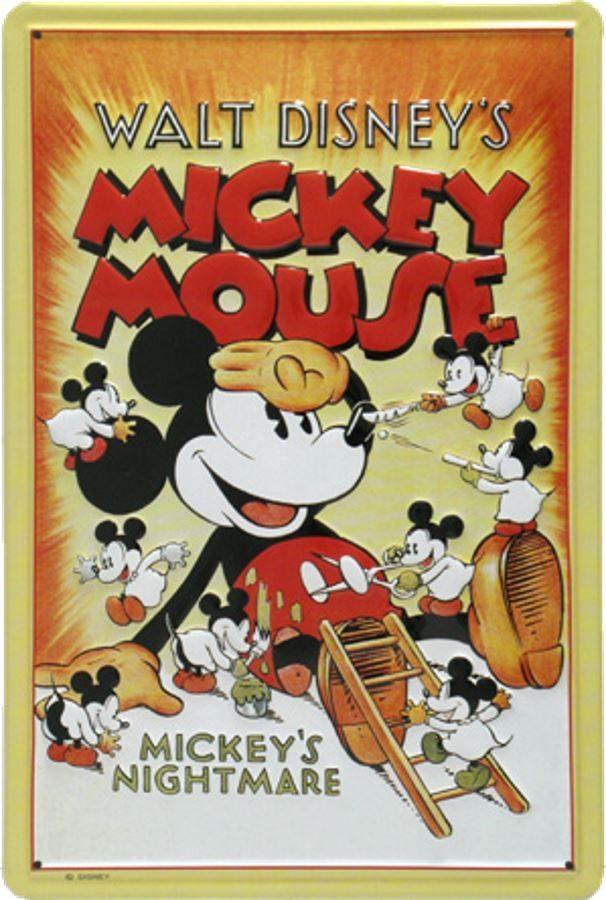 mickey mouse mickey s nightmare plaque decorative retro en metal representant mickey mouse ideal pour creer une decoration vintage dans une