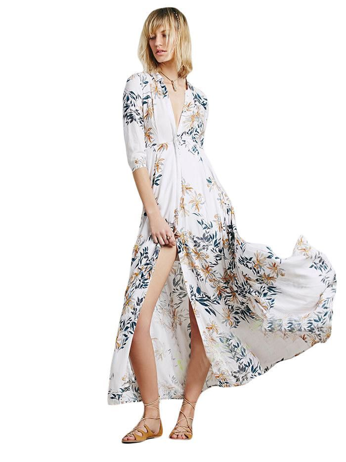 ac72029d70 Beach Cover Up 2017 Summer Vacation Womens Cover Up White Floral Shirt Dress  Long Duster Beachwear
