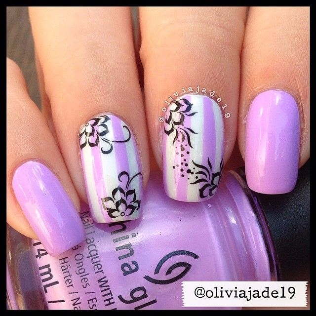 Polishes used: CG Lotus Begin and OPI My Boyfriend Scales Walls ...