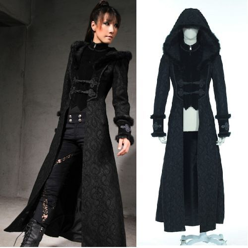 Designer Black Hooded Long Goth Jackets Trench Coats Windbreakers ...