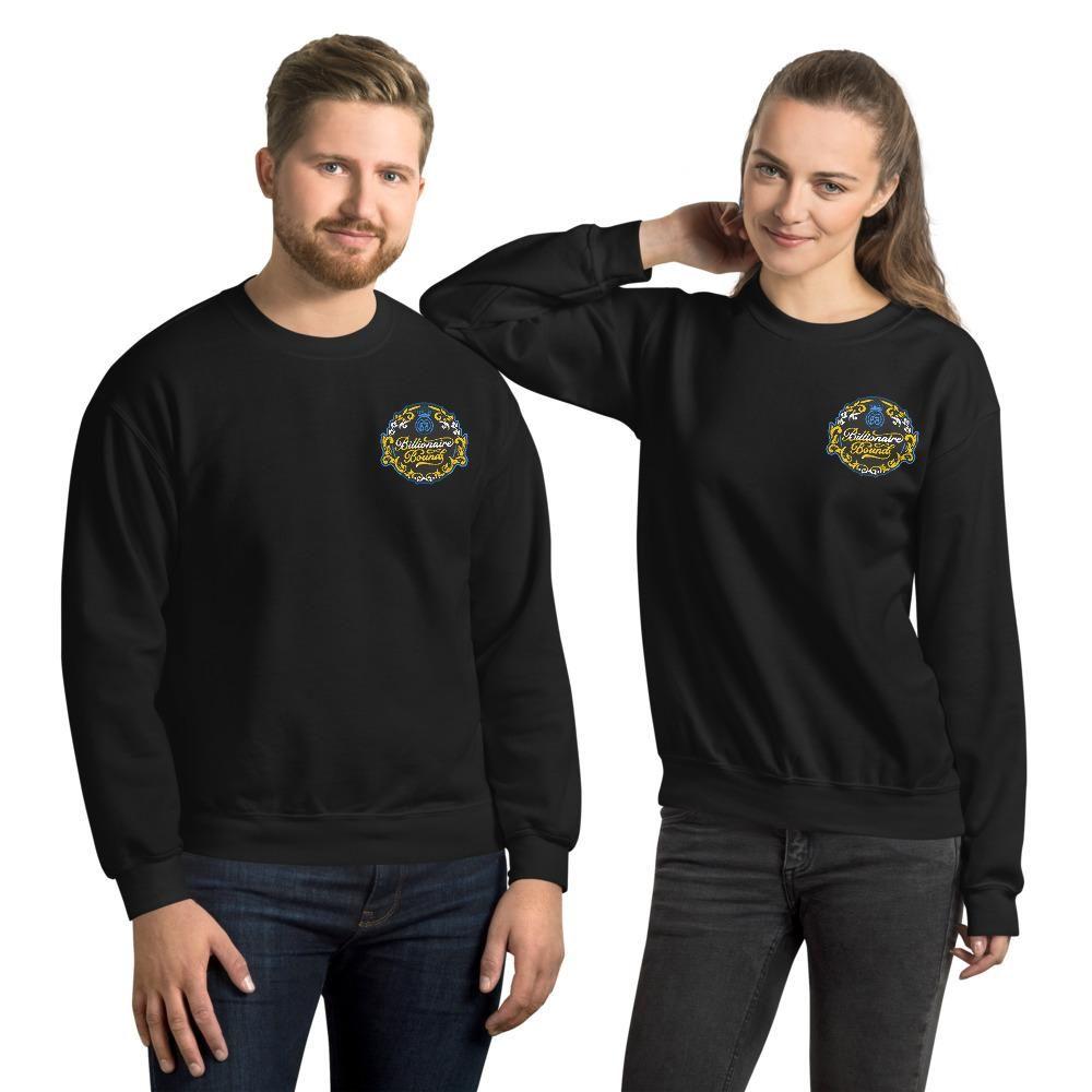 Billionaire Bound Blue/Gold Embroidered Unisex Sweatshirt - Black / L