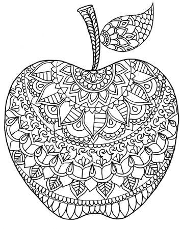Apple Coloring Pages For Adults Apple Coloring Pages Mandala Coloring Pages Coloring Pages