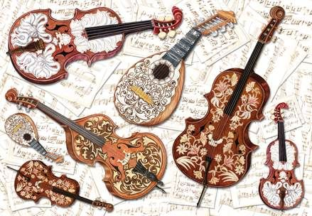 Decoupage rice paper - violins, lutes and notes.