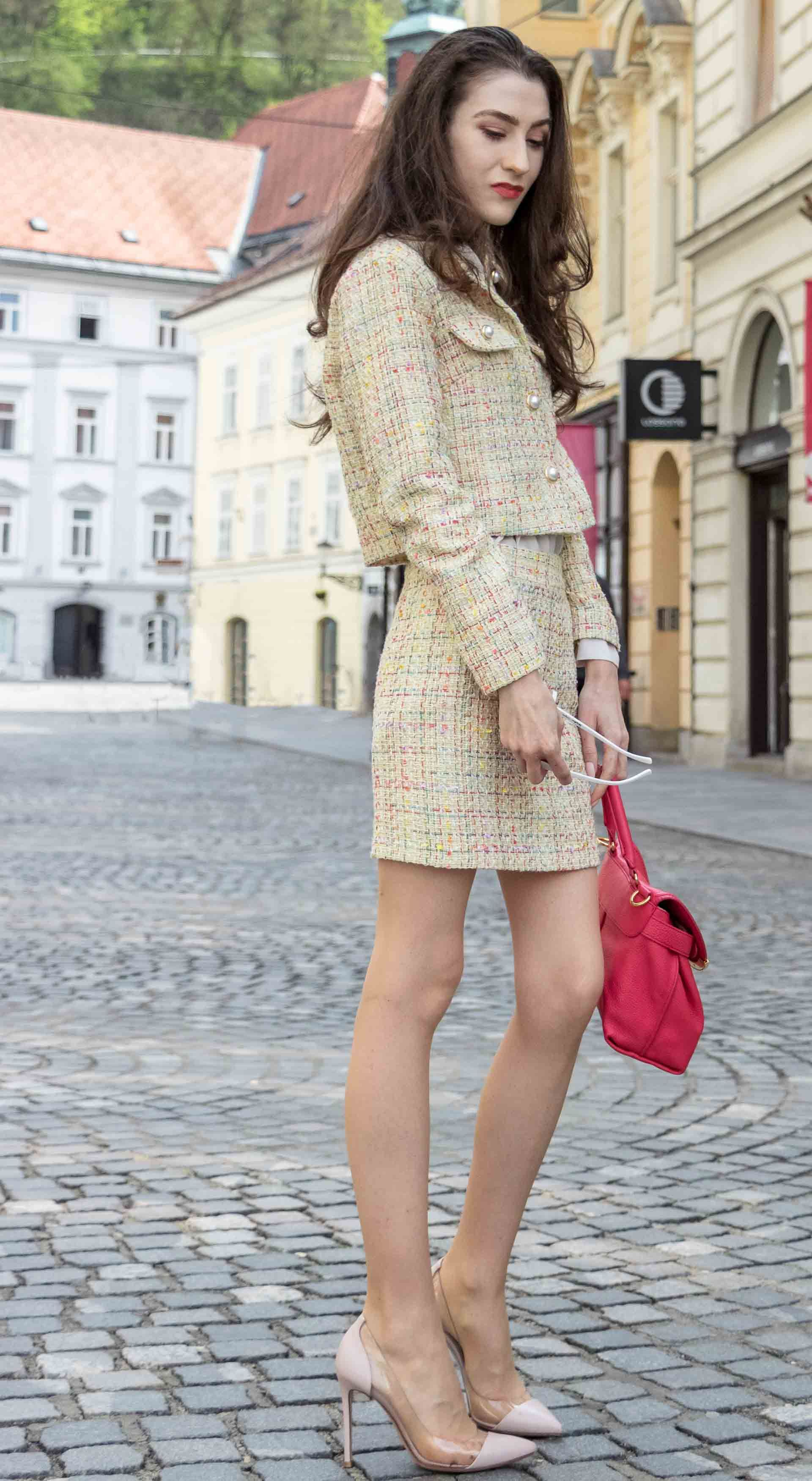 54047e7687 Yellow tweed coord suit jacket with mini skirt | gold button front jacket  with collar and pockets | chanel. gianvito rossi | spring work outfit for  women