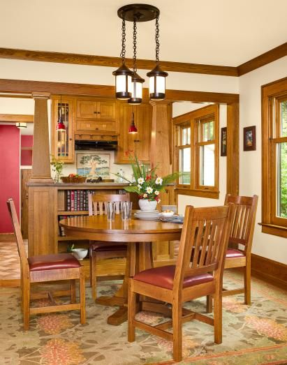 "Craftsman ""sears Kit House"" Remodel  House Remodeling Craftsman Gorgeous Arts And Crafts Dining Room Set Decorating Inspiration"