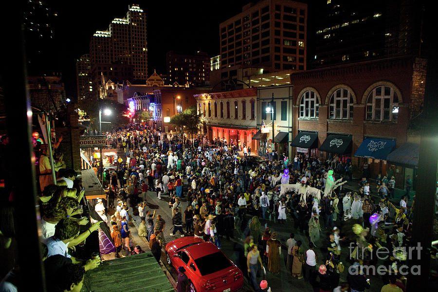 Halloween Draws Tens Of Thousands To Celebrate On Sixth Street By Herronstock Prints Downtown Austin 6th Street Austin Entertainment District