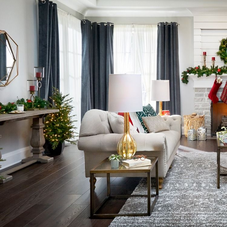 Everything In This Living Room Is From The Home Depot From The Festive Holiday Decorations To The Cozy Tufted Home Decor Living Room Designs White Home Decor