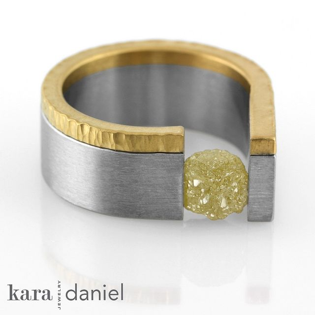 raw diamond tension-set in stainless steel, recycled gold band by Kara Daniel