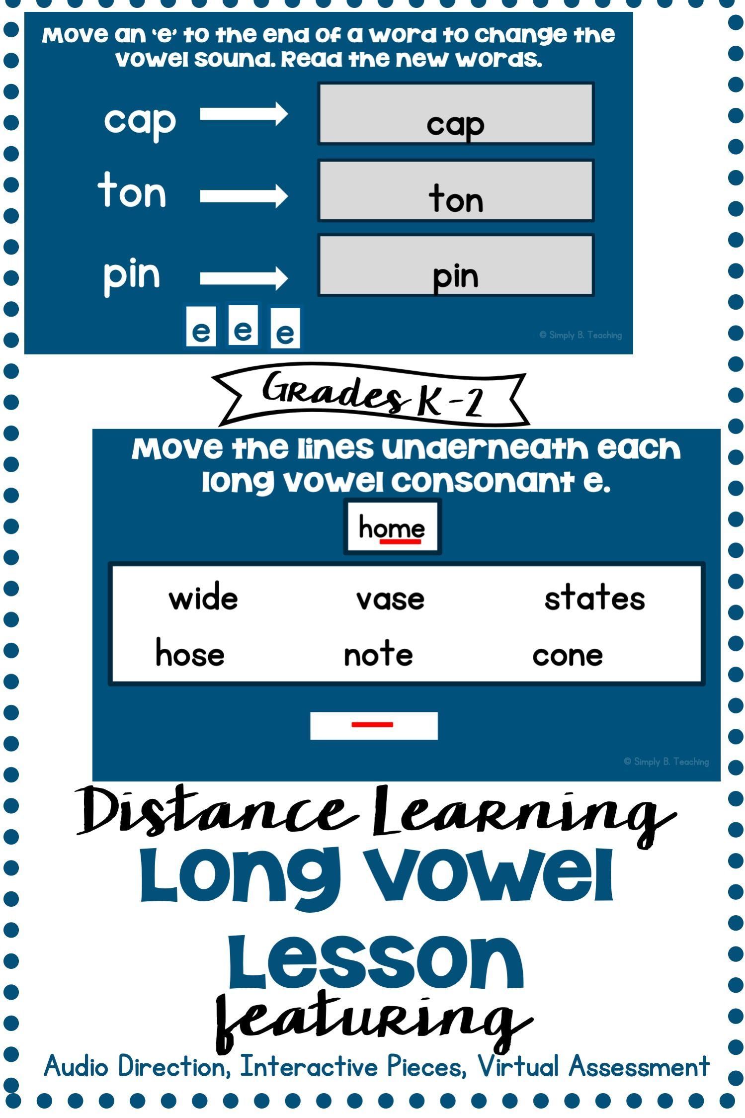 Worksheets For Long Vowel Sounds Distance Learning Phonics Lessons Cvce Words