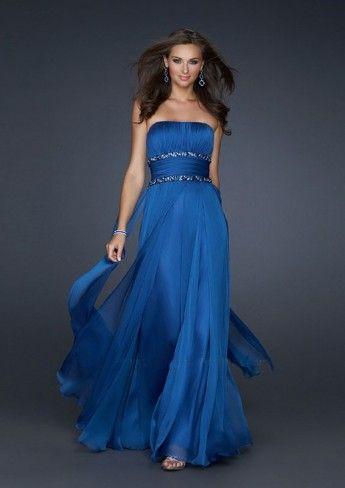 A-line Strapless Floor-length Chiffon Evening Dresses