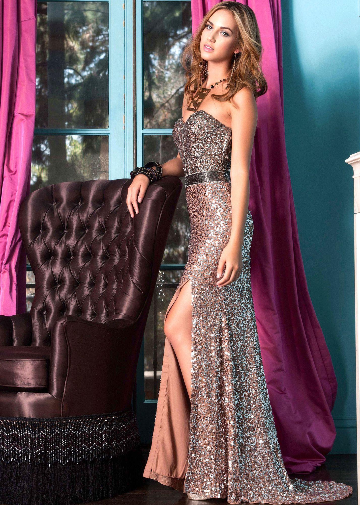 Shail k shimmery blush strapless gown prom dresses online