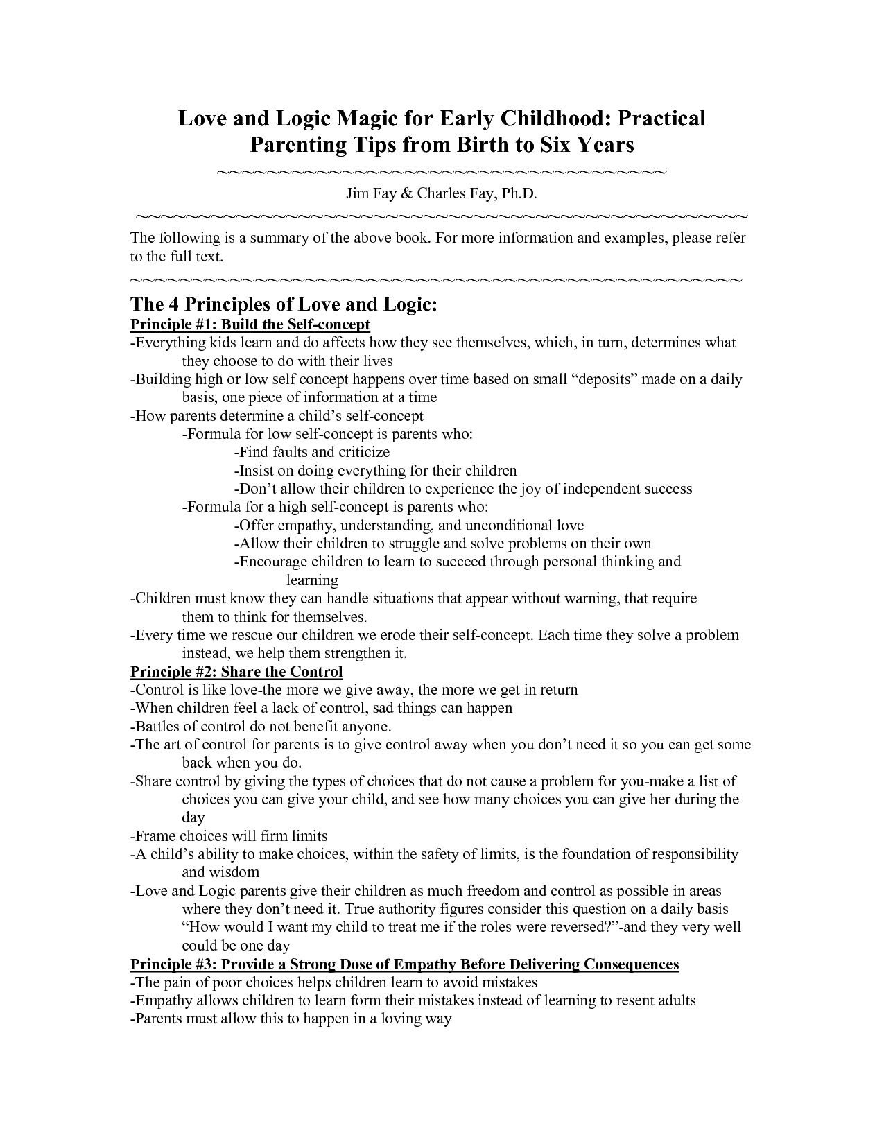 Love and Logic Magic for Early Childhood Practical Parenting Tips